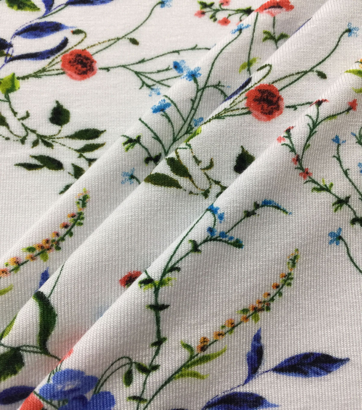 Rayon & Spandex Printed Knit Fabric-Dainty Floral on White