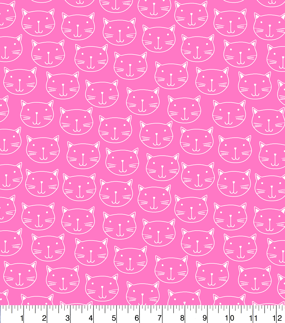 Snuggle Flannel Fabric-Cats Faces On Pink