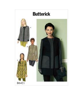 Butterick Pattern B6421 Misses\u0027 Collar or Collarless Coats-Size 14-22