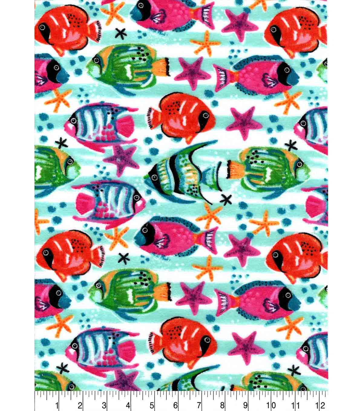 Snuggle Flannel Fabric -Watercolor Tropical Fish
