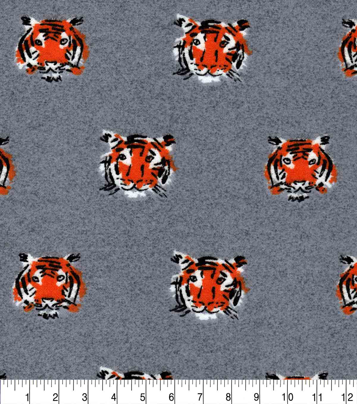 Luxe Flannel Fabric-Tiger Faces on Gray