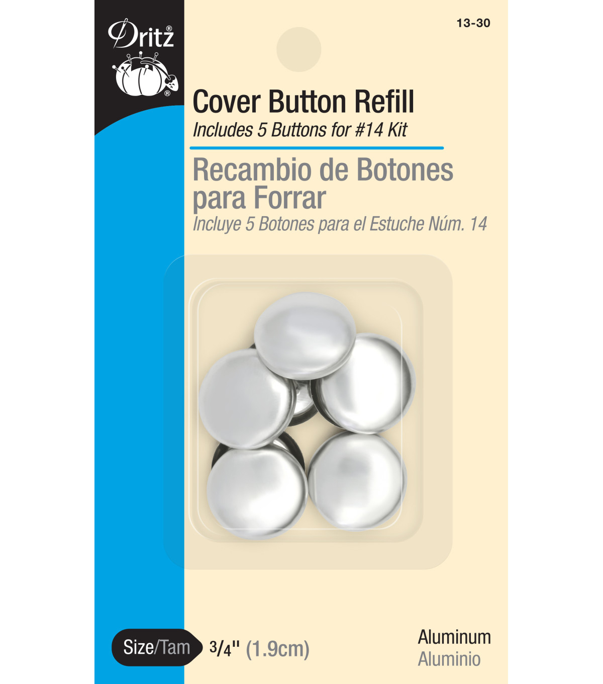 Dritz 0.75\u0022 Cover Button Refills 5pcs Size 30
