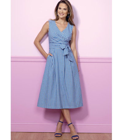Butterick Pattern B6446 Misses\u0027 Pleated Wrap Dresses with Sash-Size 6-14