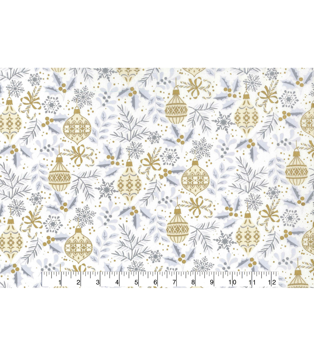 Christmas Cotton Fabric 43\u0022-Metallic Leave & Ornaments