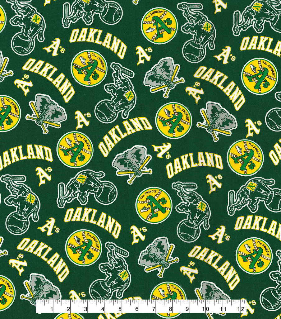 Oakland Athletics Cotton Fabric -Green Cooperstown
