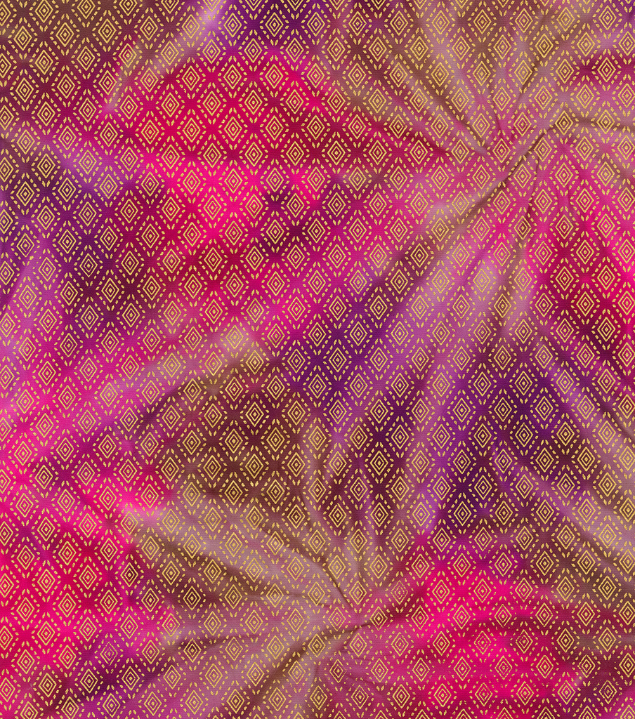 Legacy Studio Batik Fabric -Metallic Diamond on Pink & Purple