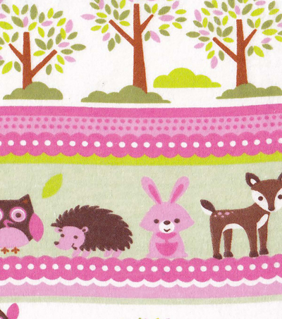 Snuggle Flannel Fabric -Pink Critter Stripe