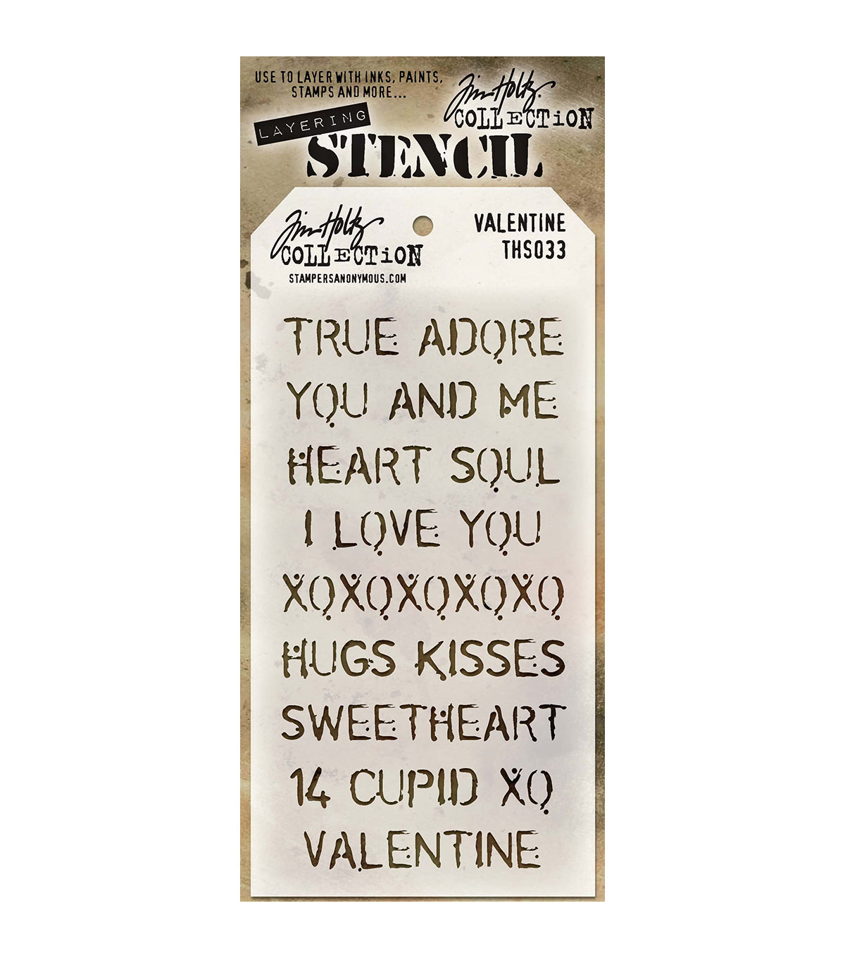 Stampers Anonymous Tim Holtz 8.5\u0027\u0027x4.12\u0027\u0027 Layered Stencil-Valentine