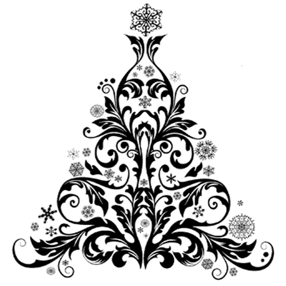 IndigoBlu Cling Mounted Stamp Baroque Christmas Tree