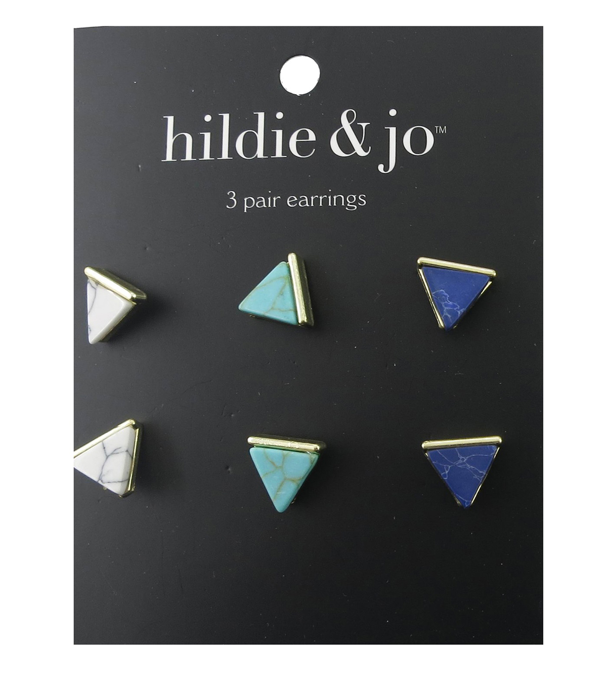 hildie & jo 3 Pack Triangle Gold Earrings
