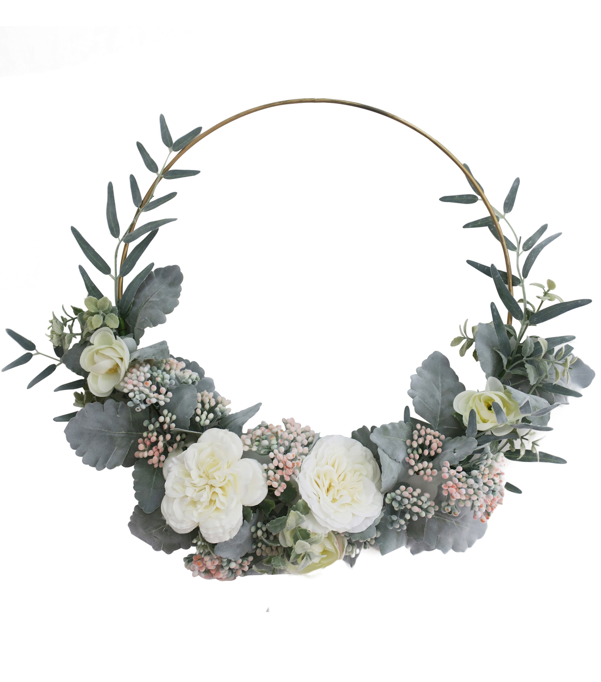 Fresh Picked Spring 23\u0027\u0027 Rose & Dusty Miller Wreath