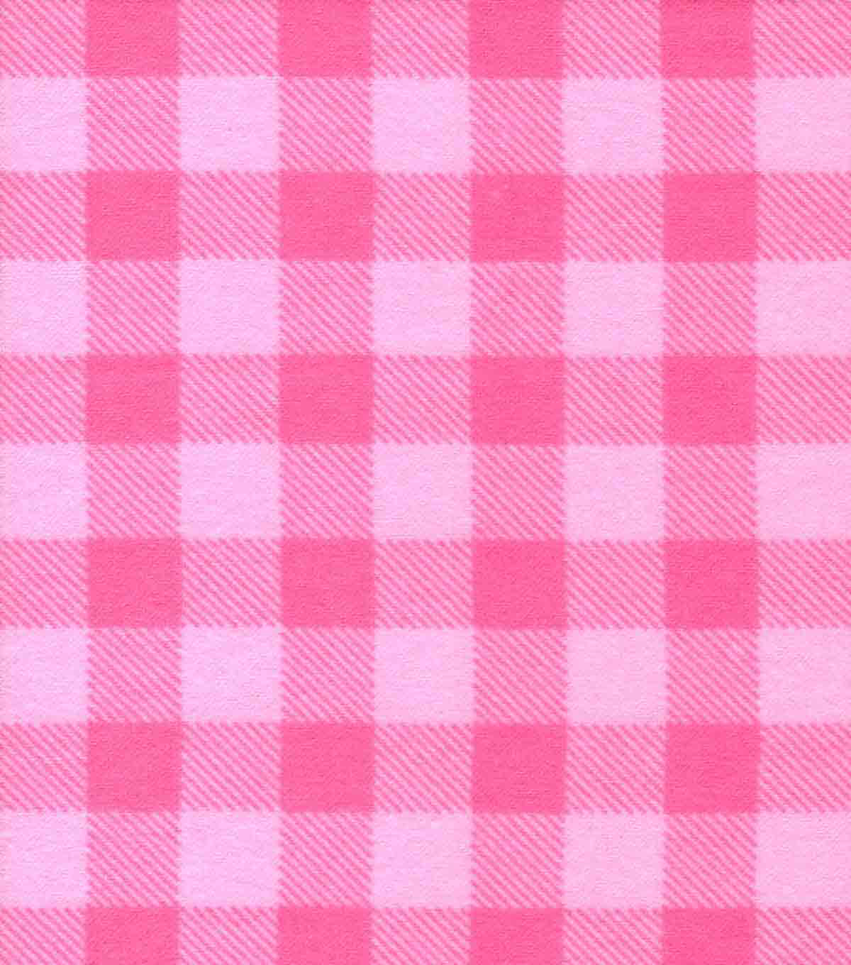 Quilter\u0027s Flannel Fabric-Pink Buffalo Plaid