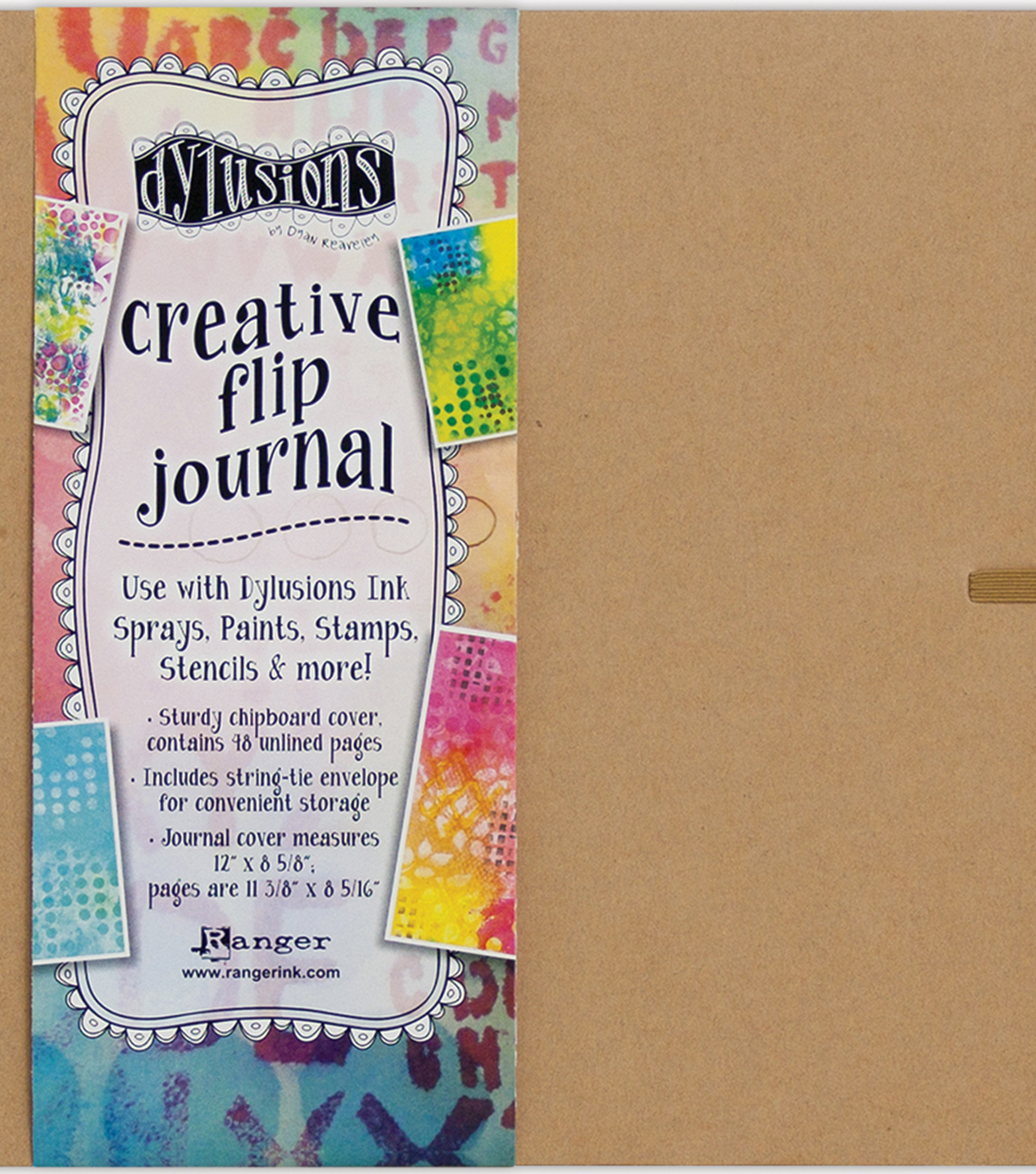 Dyan Reaveley\u0027s Dylusions Creative Flip Journal-Kraft 12\u0022X8.5\u0022