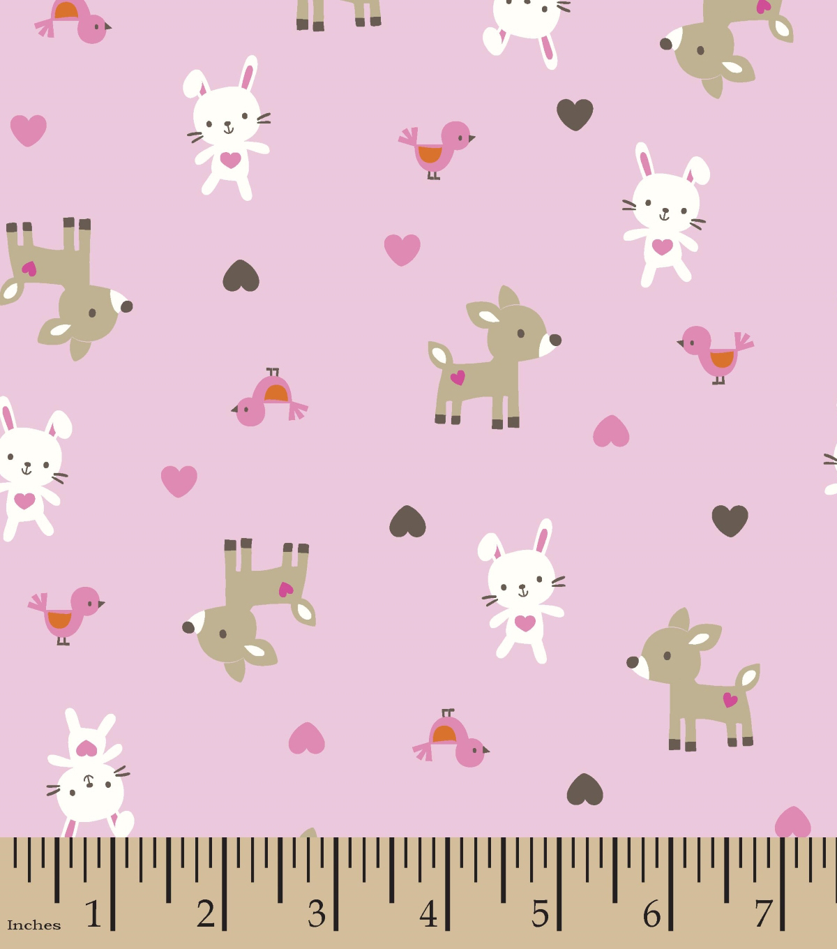 Snuggle Flannel Fabric -Pink Woodland Babies