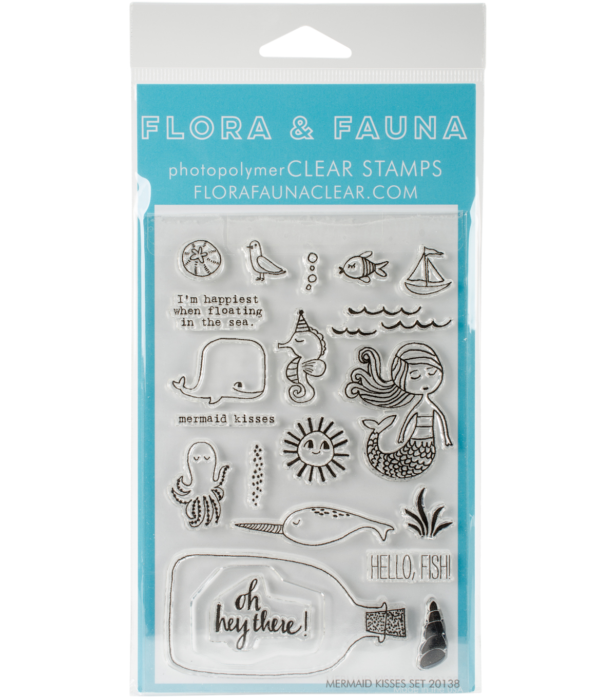 Flora & Fauna 20 pk Clear Stamps-Mermaid Kisses