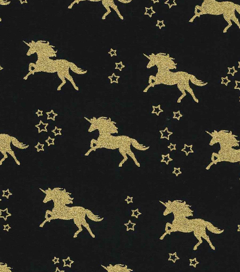Novelty Cotton Fabric-Unicorn Black Gold Metallic | JOANN