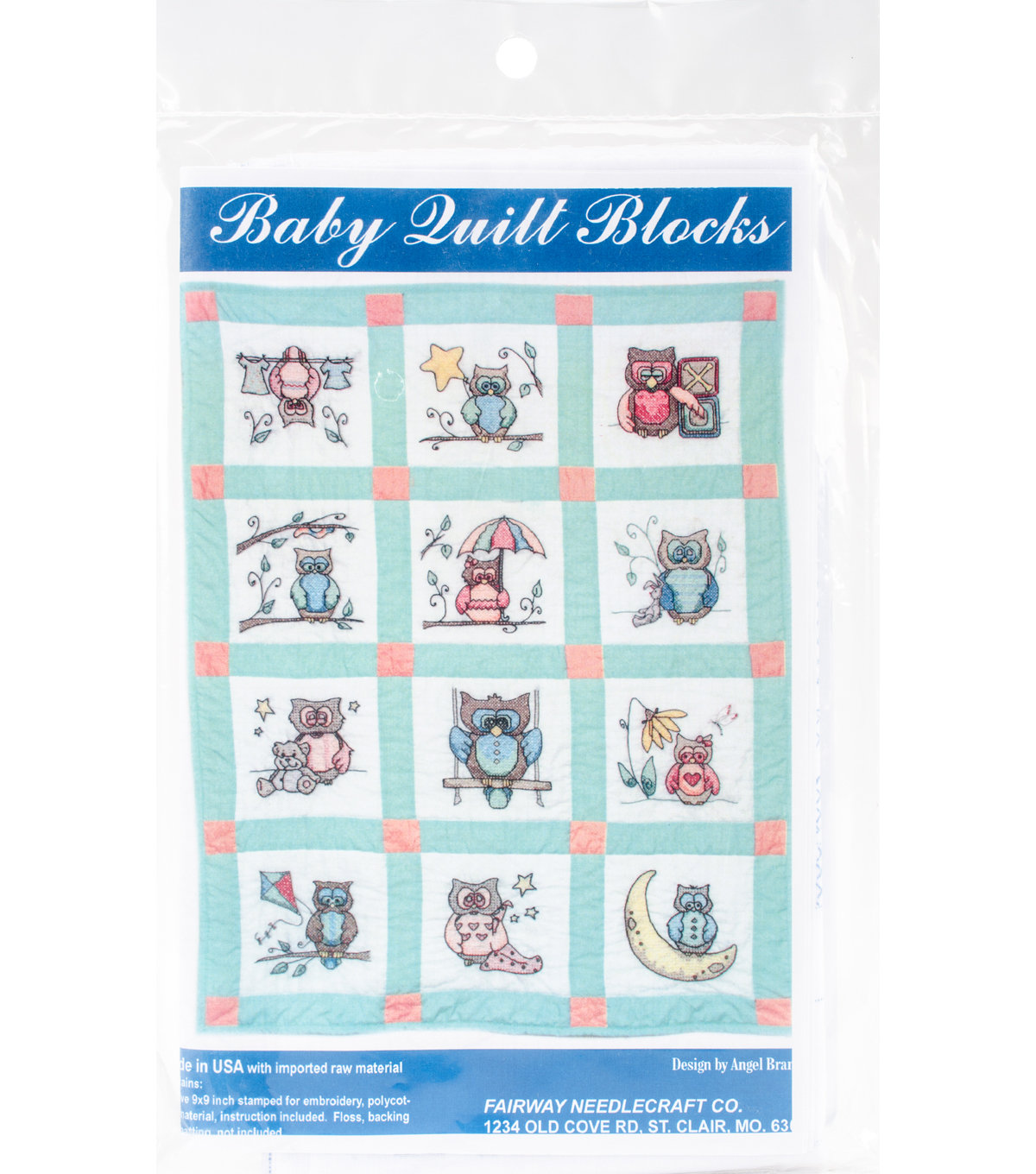 Baby Quilt Blocks.Fairway Needlecraft 12 Pk 9 X9 Stamped Baby Quilt Blocks Owls