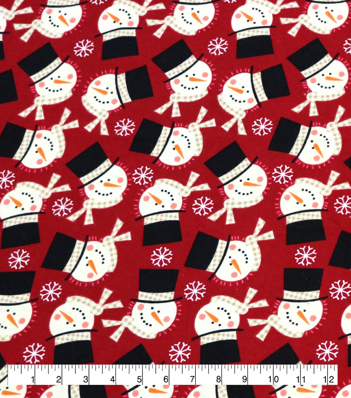 Super Snuggle Flannel Fabric-Snowman Faces Tossed