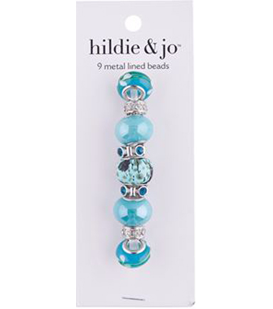 hildie & jo 9 pk Metal Lined Glass Beads-Light Blue