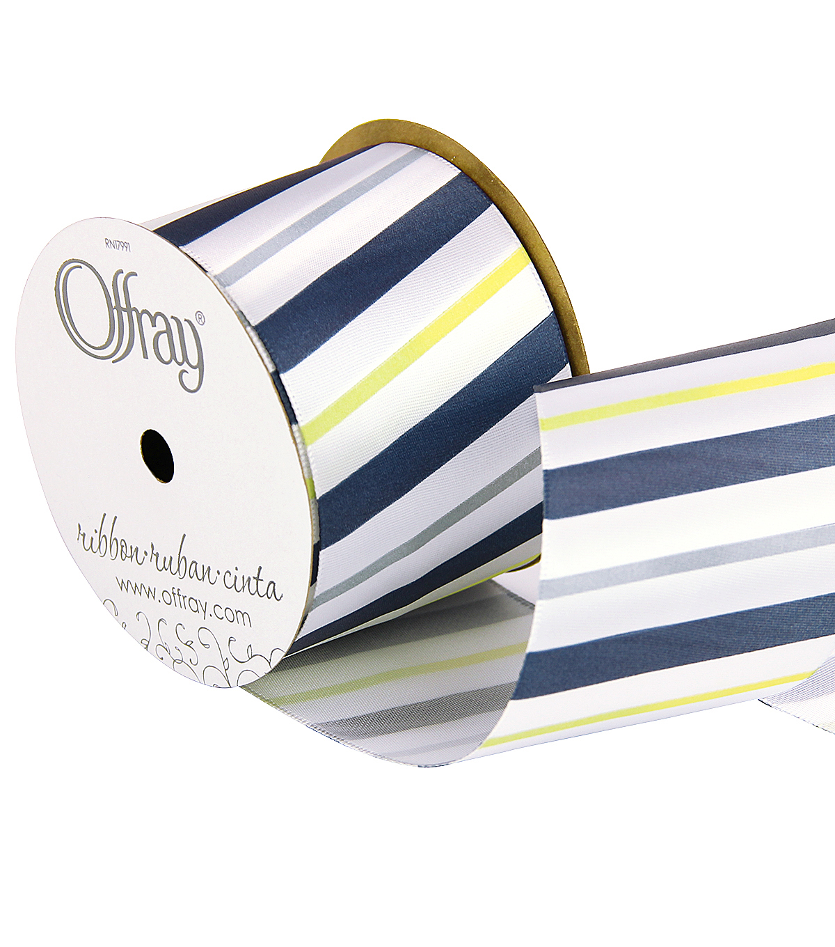 2 And One Qtr True Blue Diag Stripe Ribbon