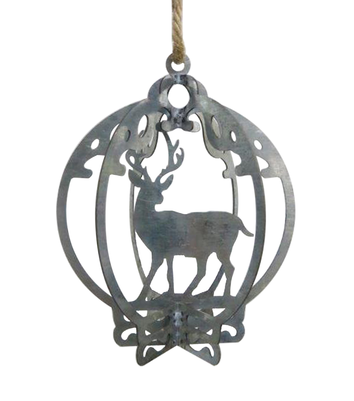 Maker\u0027s Holiday Woodland Lodge Galvanized Deer in Bulb Ornament