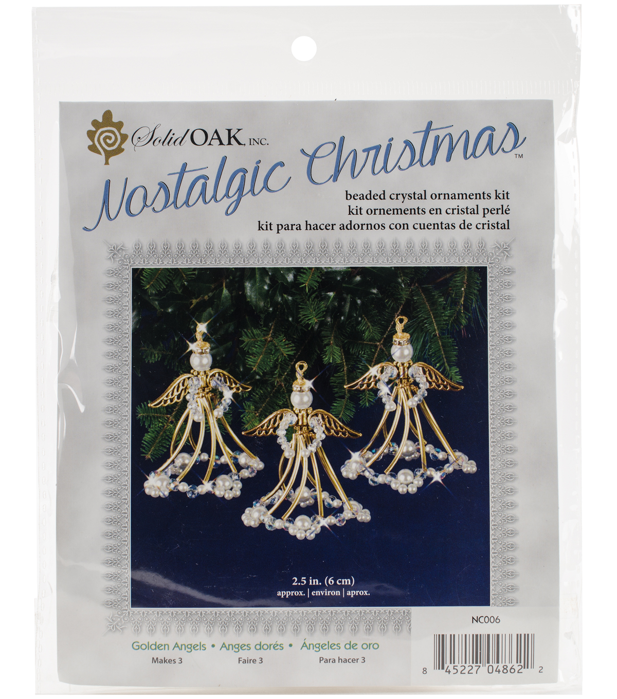 Solid Oak Nostalgic Christmas Beaded Crystal Ornaments Kit-Golden Angels
