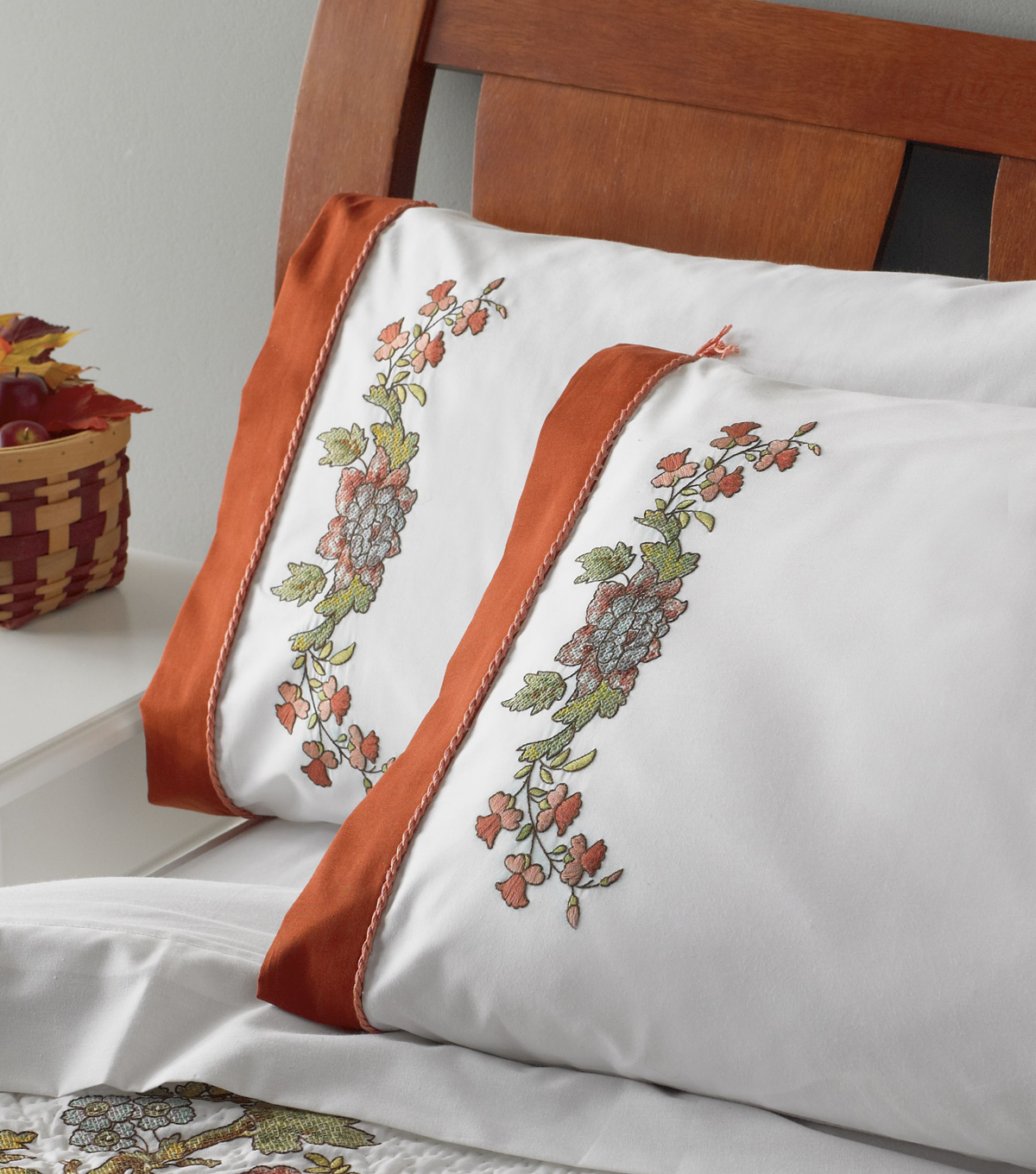 Bucilla Waverly Charleston Chip Stamped Embroidery Pillowcase