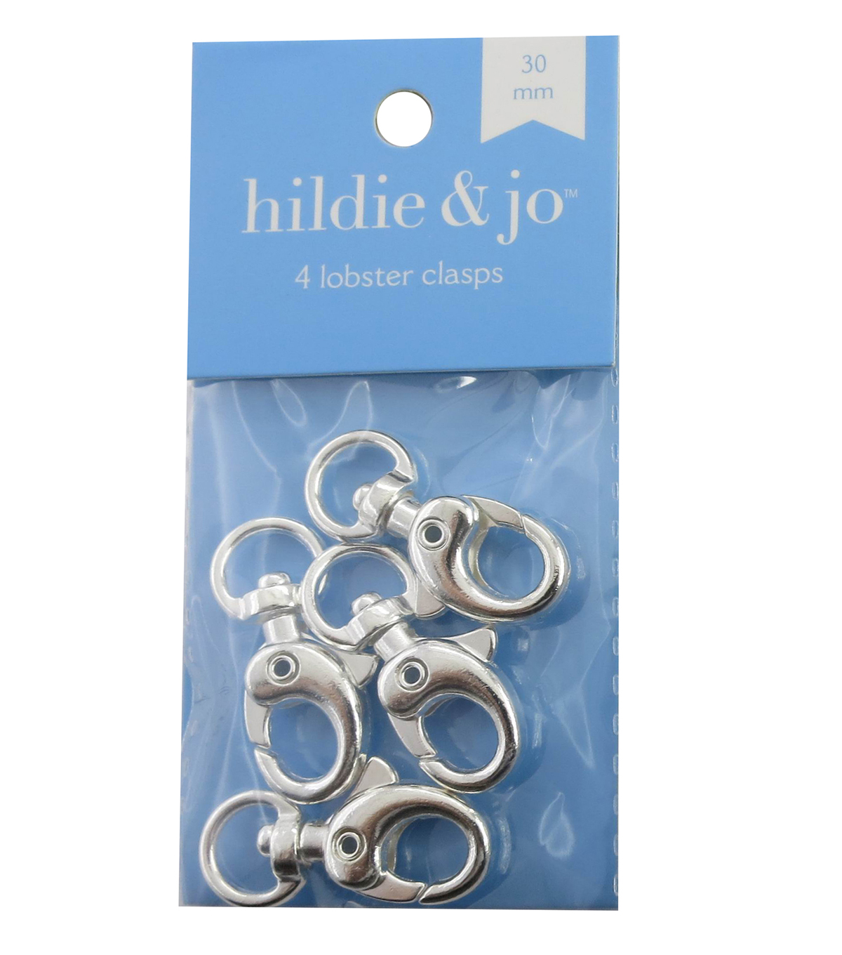 hildie & jo 4 Pack 30mm Lobster Clasps-Silver