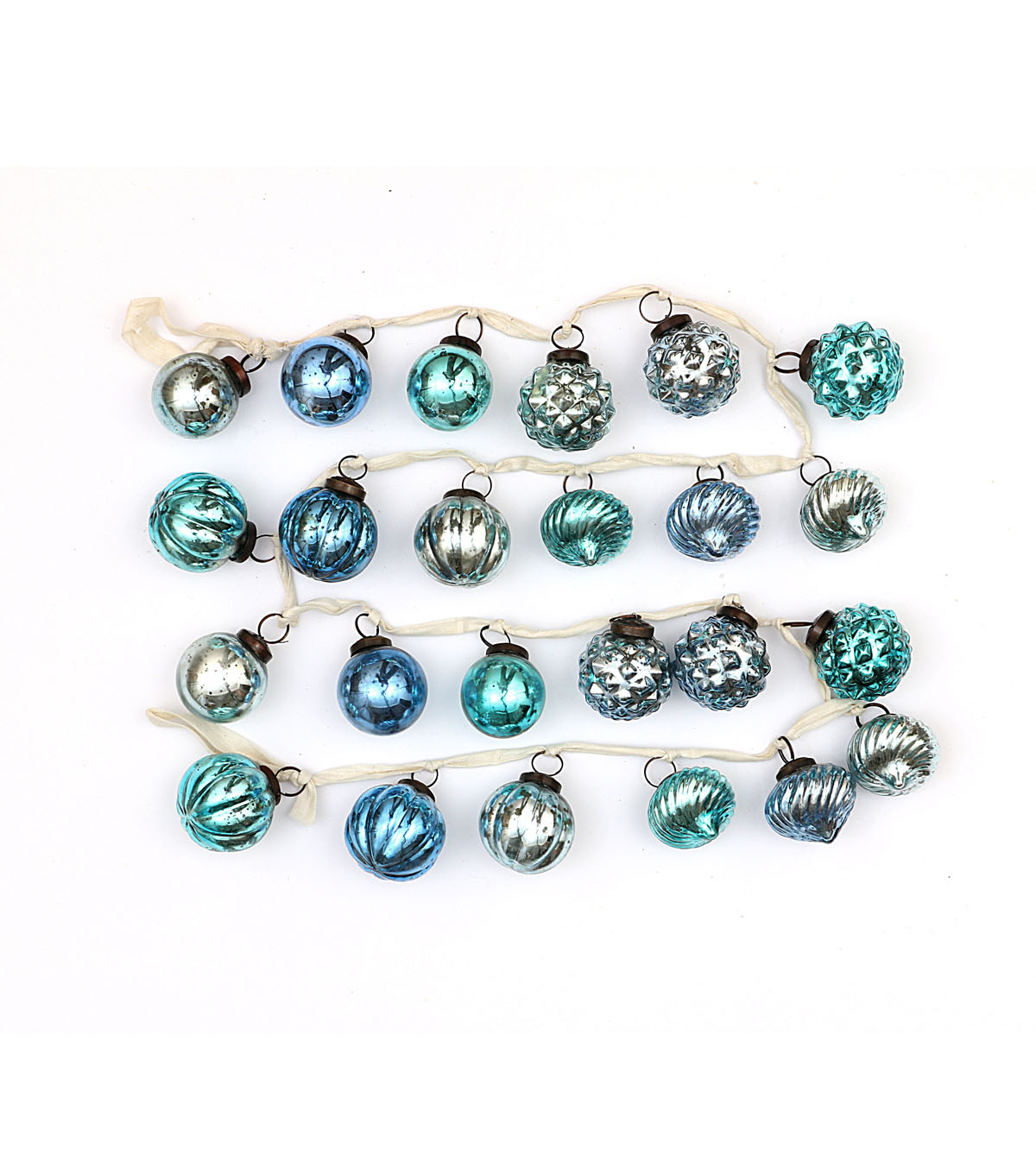 3R Studios Christmas Embossed Mercury Glass Ball Ornament Garland-Blue