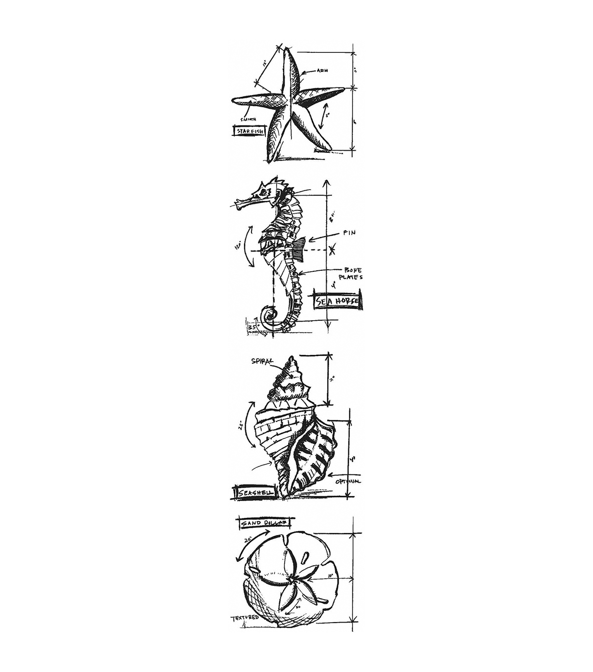 Stampers Anonymous Mini Nautical Blueprints Strip Cling Stamps