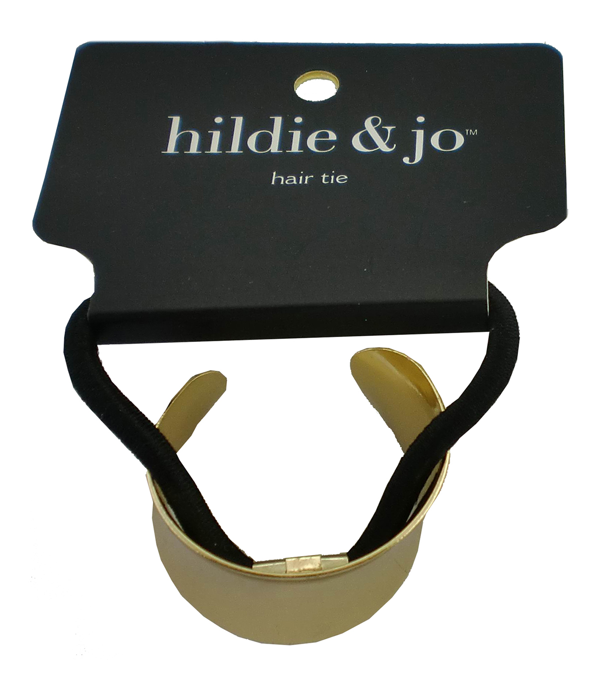 hildie & jo Black Ponytail Hair Tie with Gold Curved Cuff