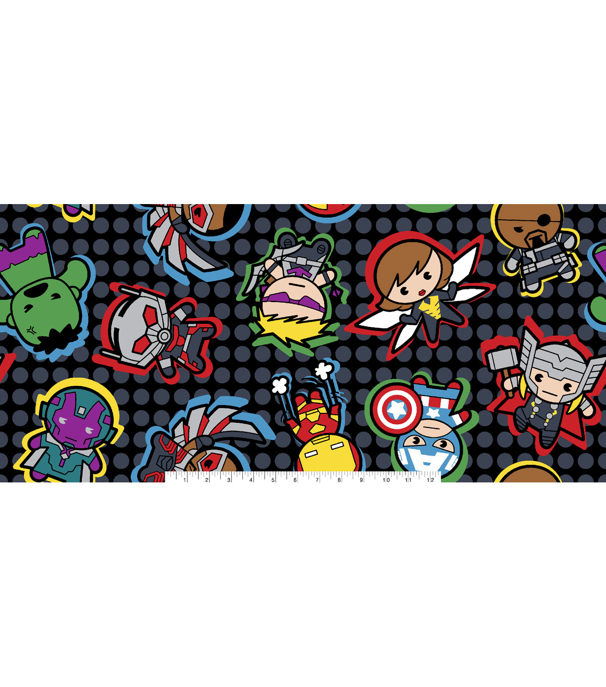 Marvel Comics Kawaii Fleece Fabric -Character Toss on Dots