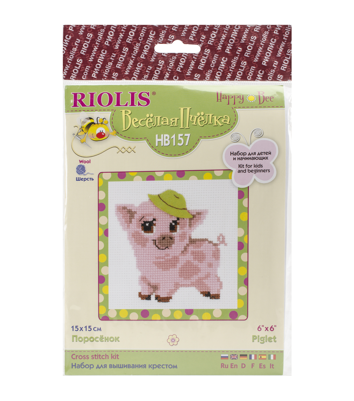 Riolis 6\u0027\u0027x6\u0027\u0027 Counted Cross Stitch Kit-Piglet