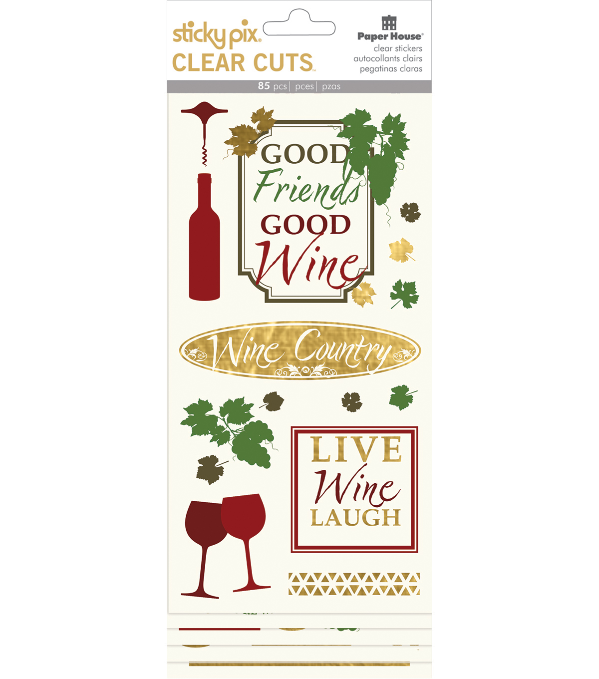 Paper House Sticky Pix Clear Cuts Pack of 85 Stickers-Wine Country