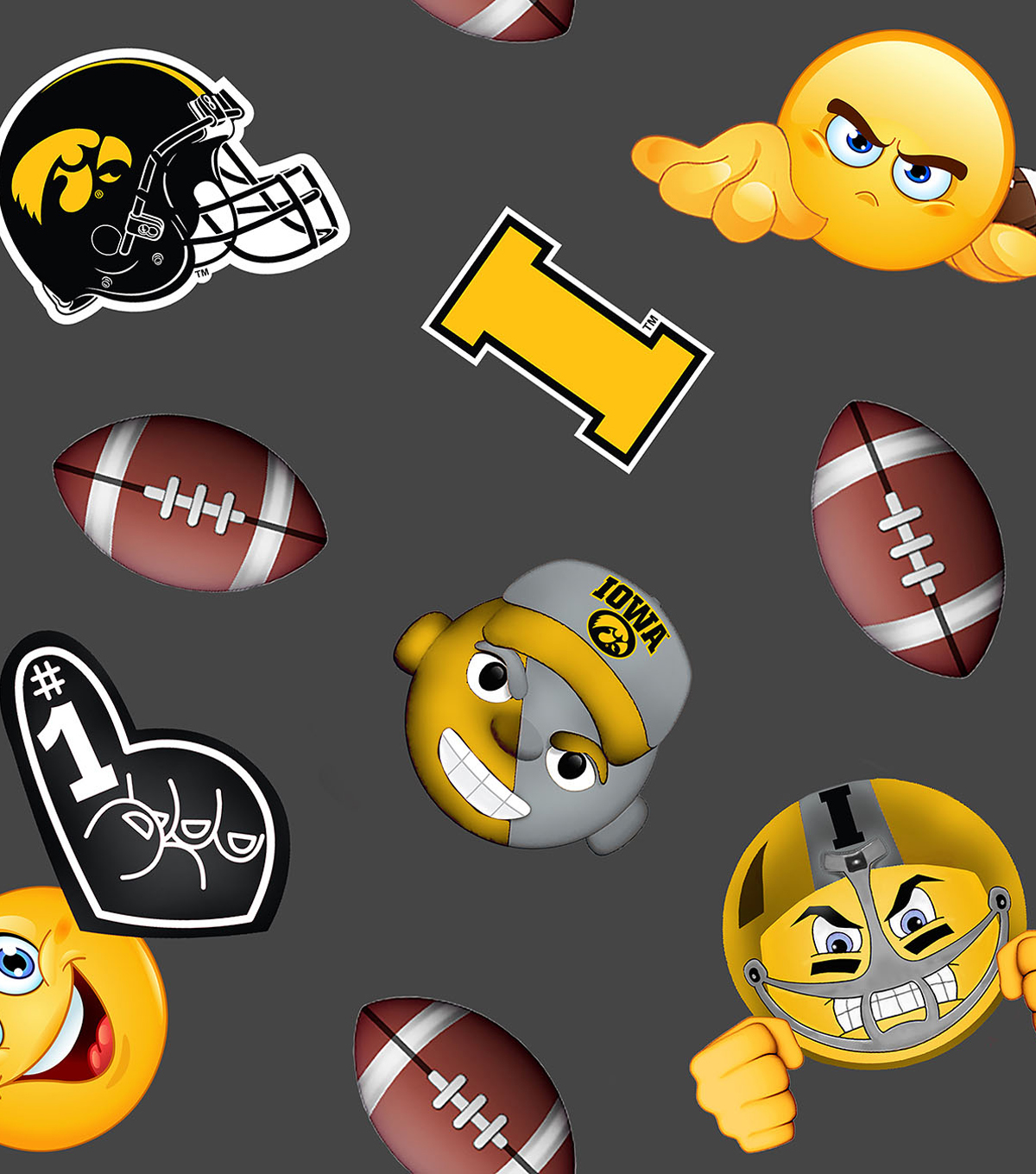 University of Iowa Hawkeyes Fleece Fabric -Emoji