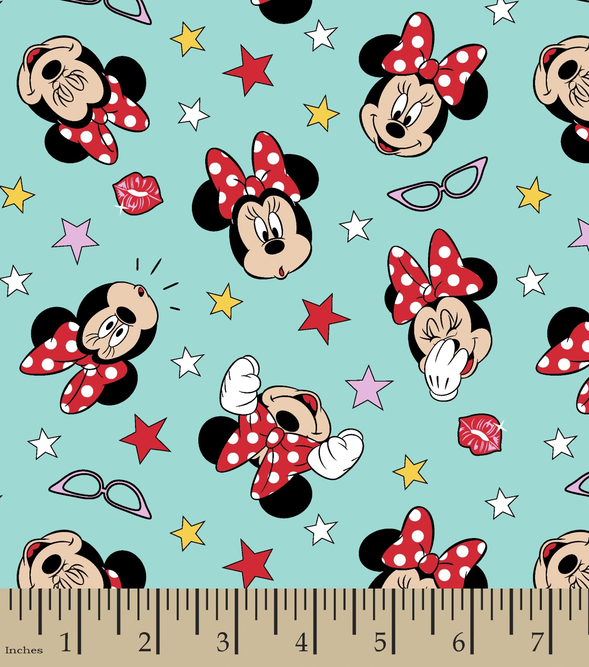Disney Minnie Mouse Cotton Fabric 43u0022 Glasses And Faces