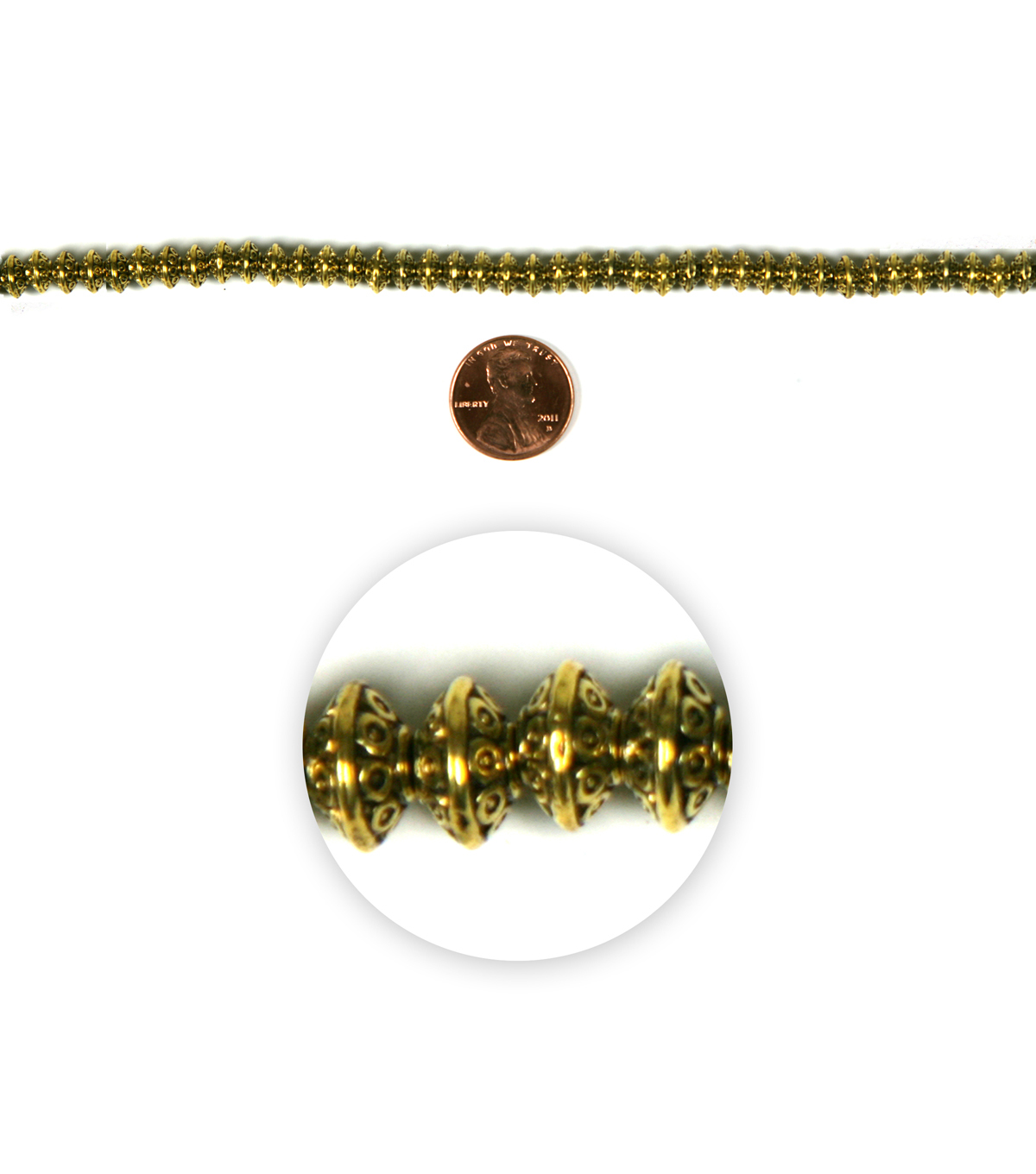 Blue Moon Strung Metal Spacers Beads,Rondelle,Antique Gold,Dots