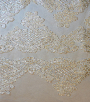 Save The Date Scallop Lace Embellished Fabric -Eggnog
