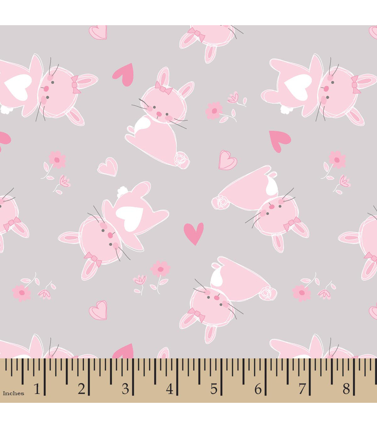 Nursery Flannel Fabric -Cute As A Bunny Toss