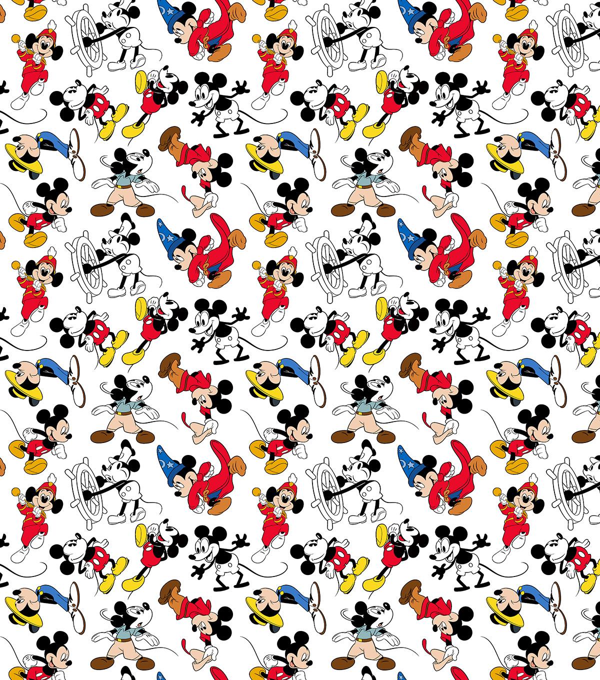 Disney Mickey Mouse Cotton Fabric-Mickey Through the Years