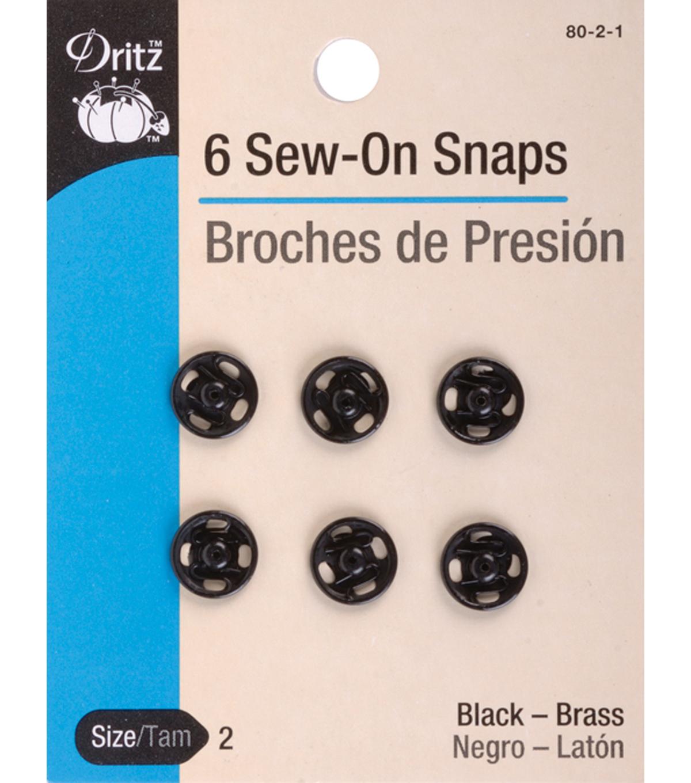 Dritz Sew-On Snaps Black Size 4/0