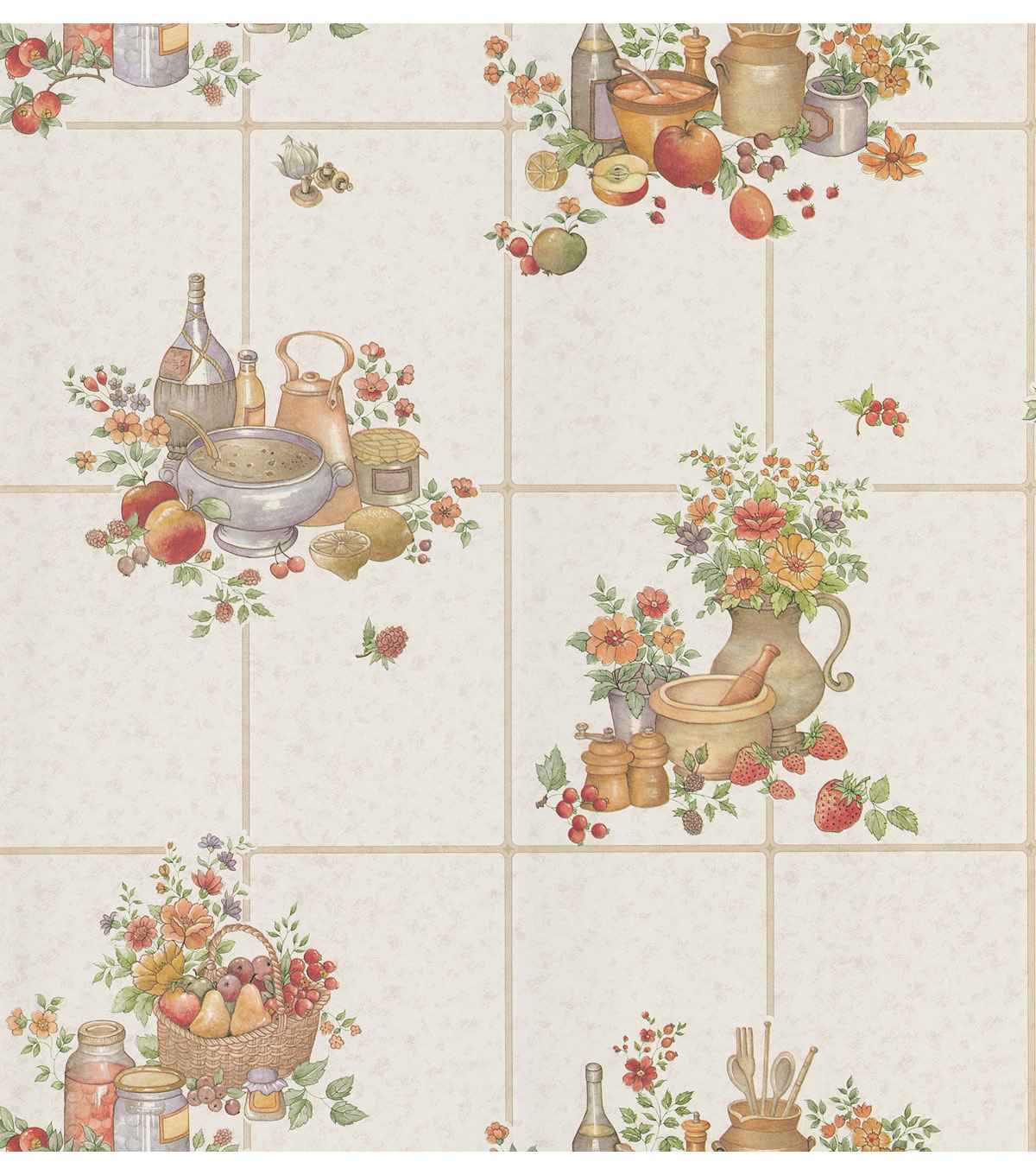Picnic Floral  Purple Kitchen Tile Wallpaper