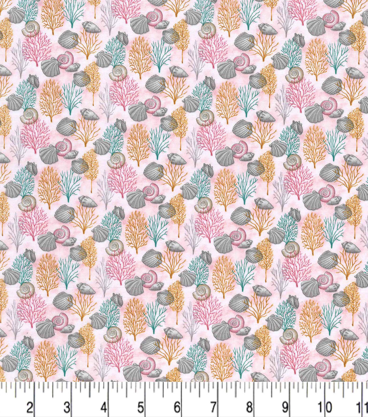 Premium Prints Cotton Fabric-Pink Seashells & Coral