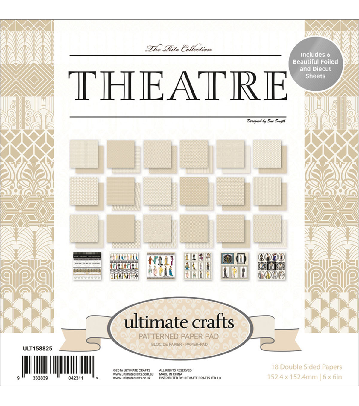 Ultimate Crafts The Ritz 24-sheet 6\u0027\u0027x6\u0027\u0027 Double-sided Paper Pad-Theatre