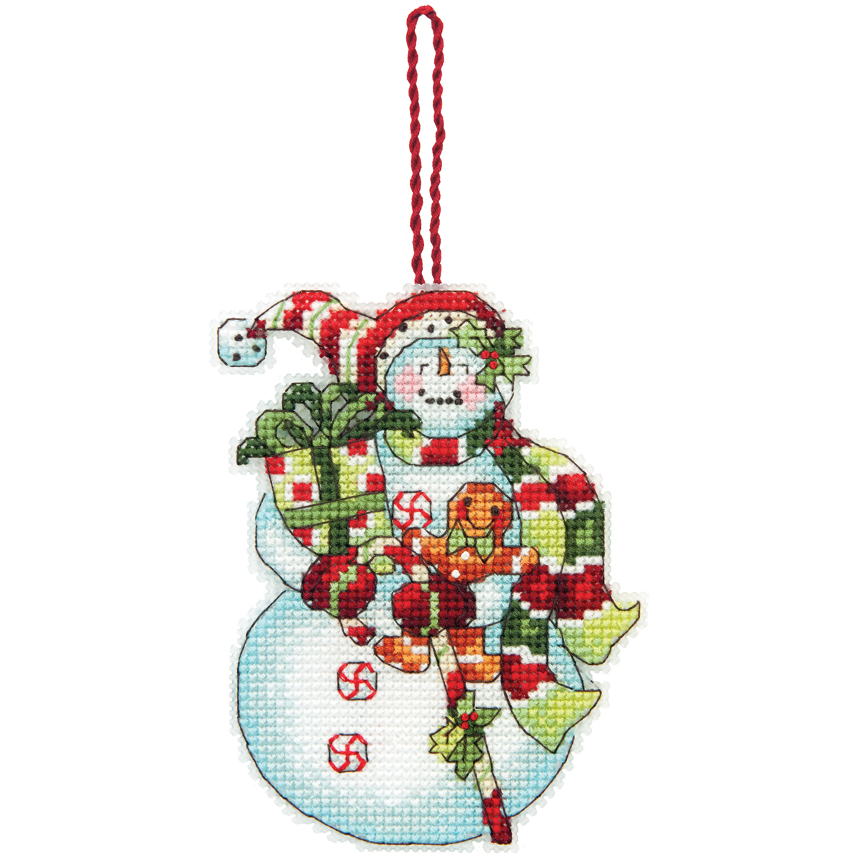 Dimensions Ornament Counted Cross Stitch Kit Snowman With Sweets