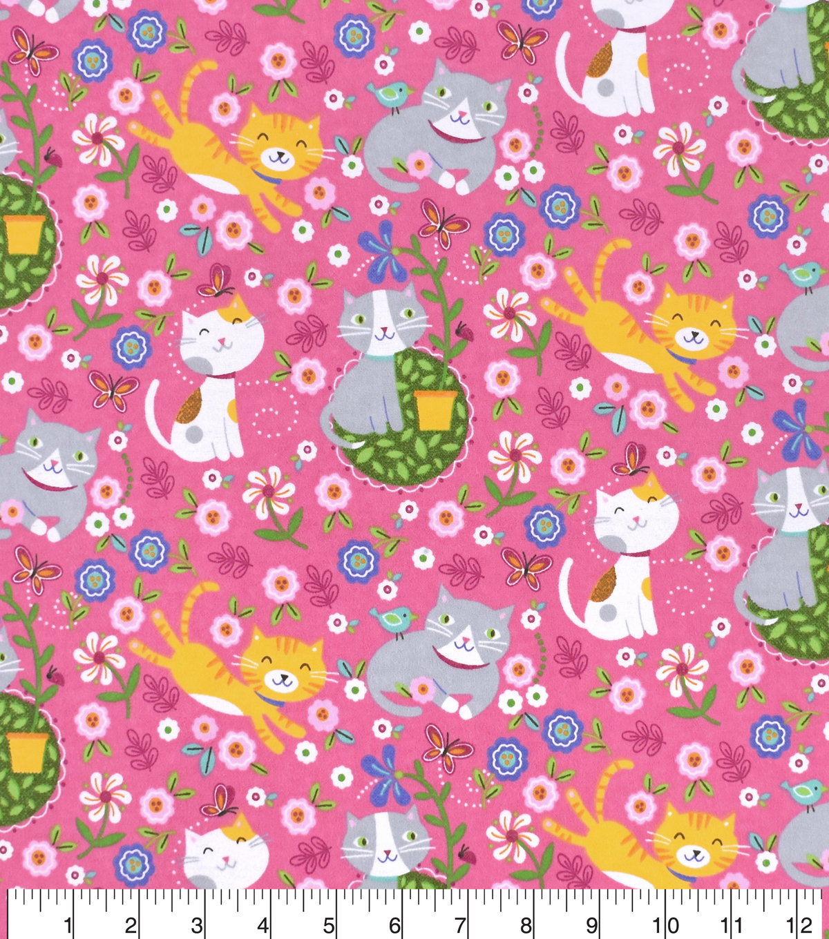 Snuggle Flannel Fabric -Springtime Cats