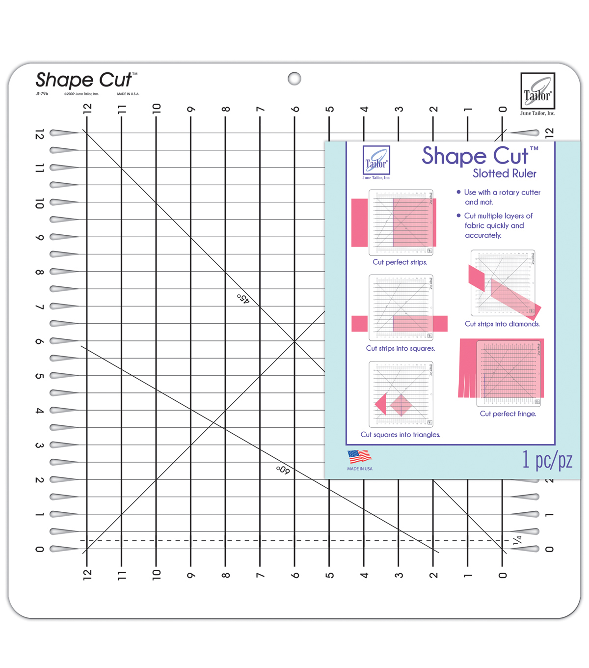 June Tailor Shape Cut 12\u0027\u0027x12\u0027\u0027 Slotted Ruler