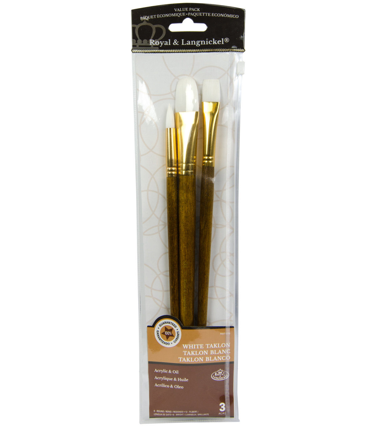 Royal Langnickel 3pc Long Handle Brush Set-White Taklon