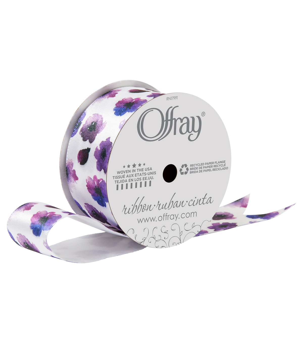 Offray 1.5\u0022x9\u0027 Wild Daisies Floral Grosgrain Wired Edge Ribbon-Multi
