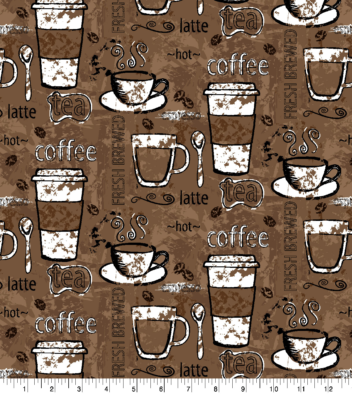 Super Snuggle Flannel Fabric-Cups Of Coffee